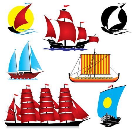 sailing vessel: set of  images of sailing ships