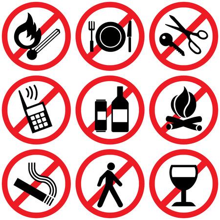 prohibido: conjunto de iconos. Signos de informaci�n prohibitiva  Vectores