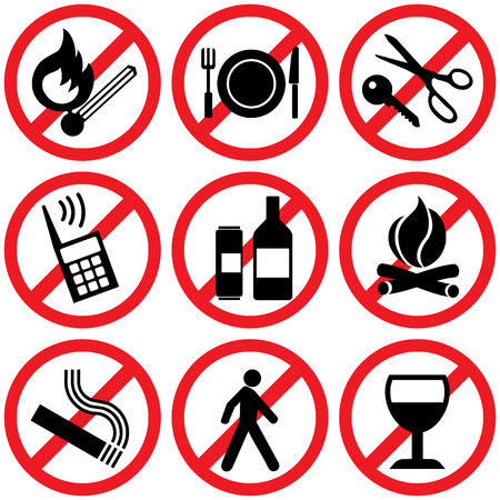 set of  icons. Prohibitory information signs Vector