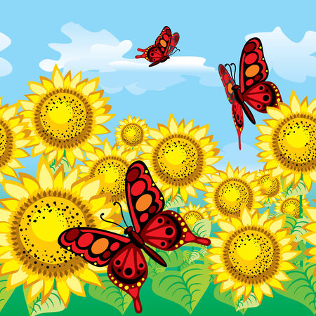 plantation: seamless background. Butterflies on the background of the plantations of sunflowers