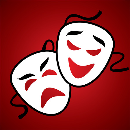 comedy: Two white theatrical mask on burgundy background