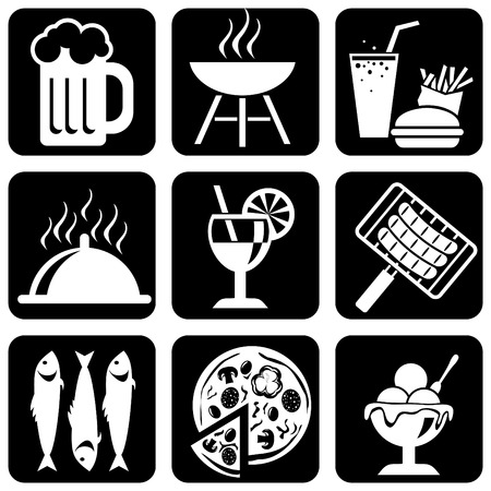 set of  silhouette icons of food, barbecue and picnic