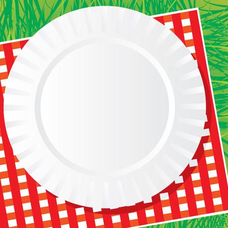achtergrondafbeelding van een plastic schotel voor een picknick op een servet en gras Vector Illustratie