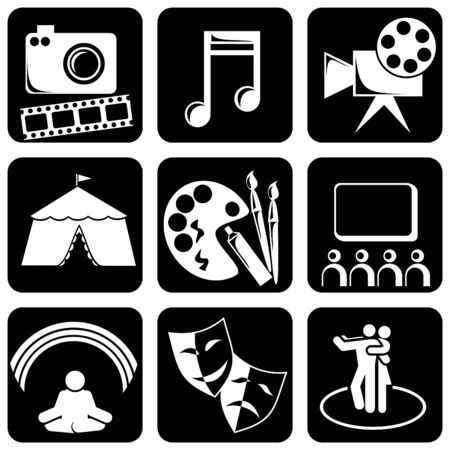 set of black and white icons on the theme of Art Stock Vector - 7325822