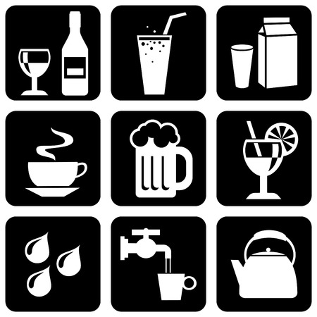 set of black and white icons on beverages and liquids Vector
