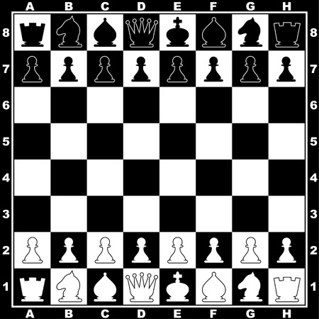 image of the chessboard with line ap figures Vector