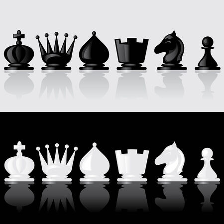 reflection: set of images of chessmen with reflection