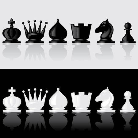 set van beelden van chessmen met reflectie  Vector Illustratie