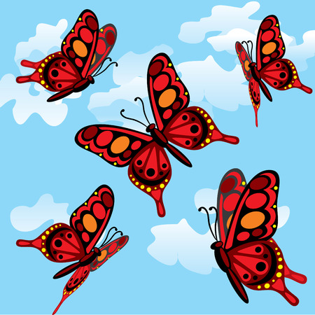 peacock butterfly: Five black and red butterflies fly in the sky Illustration