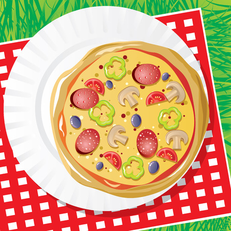 image of pizza on a plastic dish for picnic Vector