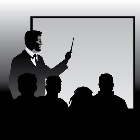 profesor en la pizarra explicando material de discípulos. Siluetas de imagen vectorial.