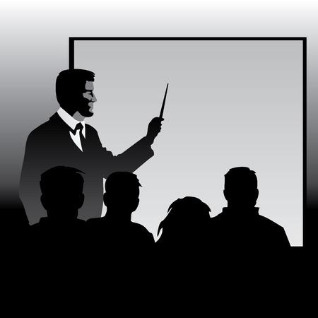 docent aan de blackboard discipelen materiaal uit te leggen. Vector afbeelding silhouetten.
