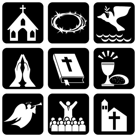 people in church: set of icons of religious christianity signs and symbols