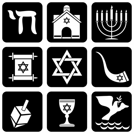 set of icons of religious judaism signs and symbols