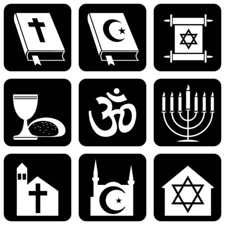set of vector icons of religious signs and symbols
