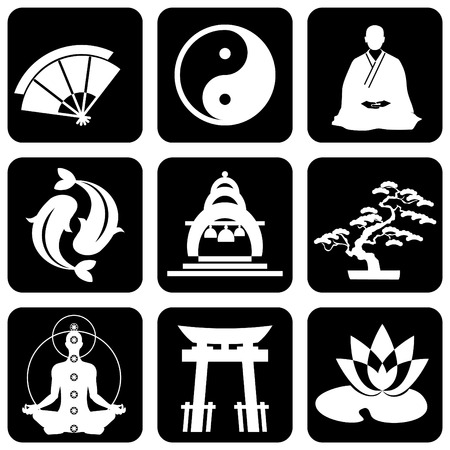 chinese buddha: set of icons of religious buddhism signs and symbols Illustration