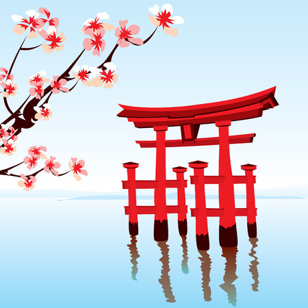 japanese culture: Japanese landscape. Morning on the lake with a red flooded the temple