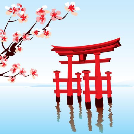 oriente: Paisaje japonés. Por la mañana en el lago con una roja inundó el templo