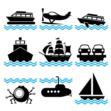 conjunto de iconos de silueta sobre los buques de la marinos y el transporte