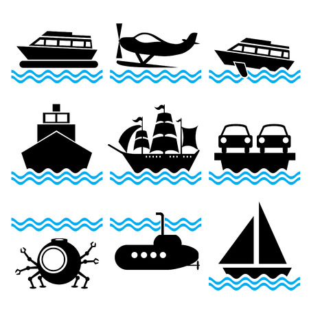 set of silhouette icons on marine vessels and transport