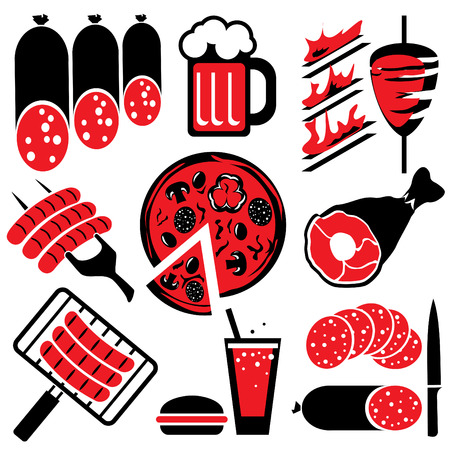 set of icons on the barbecue and eating. icons in two colors Vector