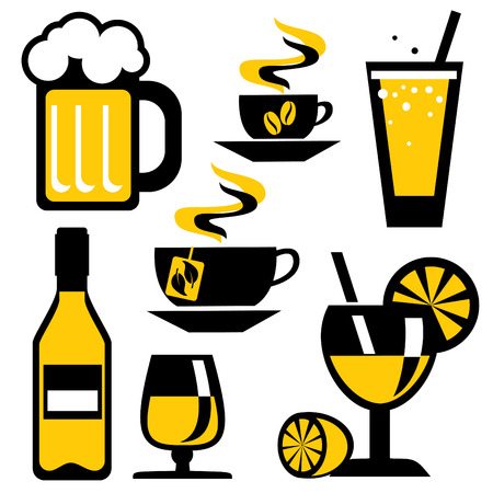hot water bottle: set of icons on the drink and beverages. Vector icons in two colors