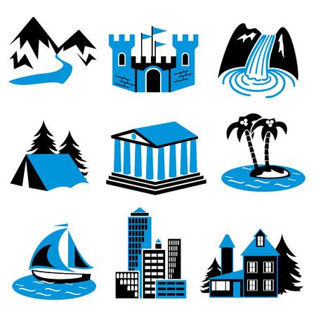 cascades: luoghi per il turismo e relax. Un set di icone vettoriali a due colori