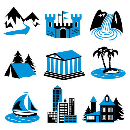 cascade mountains: places for tourism and relaxation. A set of vector icons in two colors