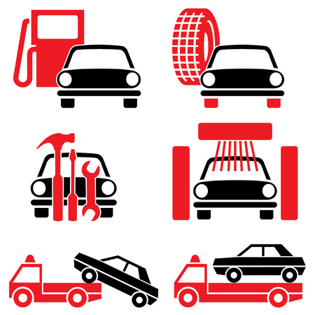 Icon of automotive tools and services. Set of two-color icons