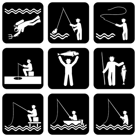 ice fishing: set of silhouette icons of fishing