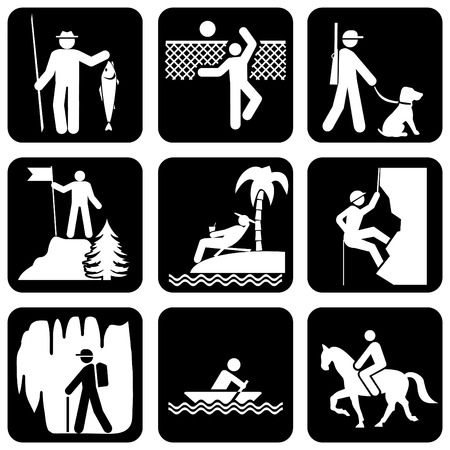 set of vector silhouette icons on the active leisure Illustration