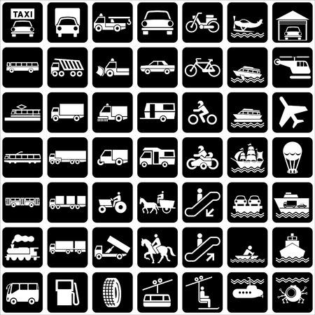 conjunto de silueta de iconos con varios transportes de símbolos