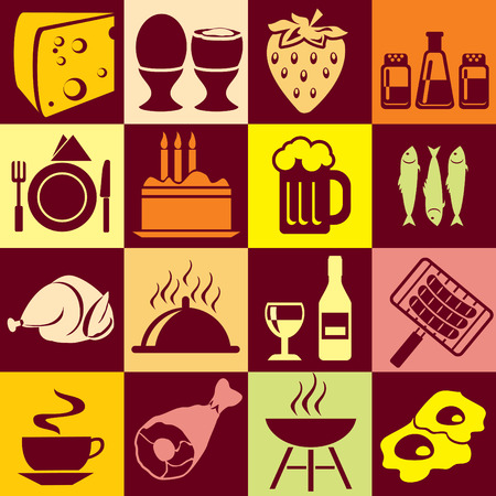 Seamless background with colorful symbols of food and beverages. Alternation of light and dark cells Vector