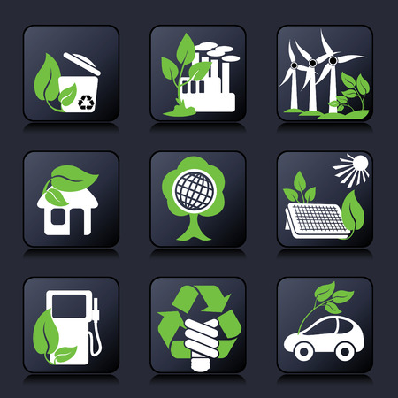 set of icons of environment protection and renewable sources of power Vector