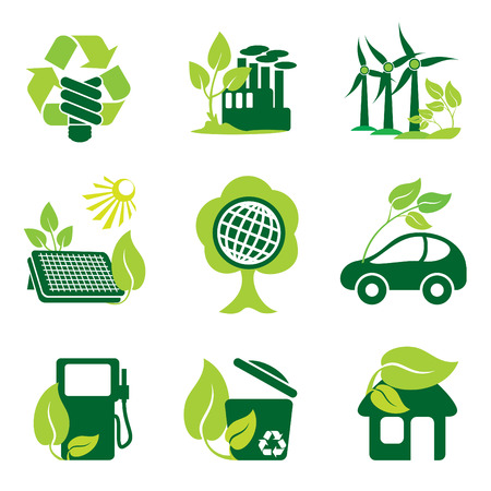 sources: set of icons of environment protection and renewable sources of power