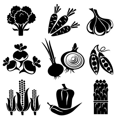 broccoli: set of silhouette icons of vegetables. Black and white icons