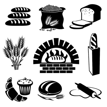 loaf of bread: set of silhouette icons of bread and pastry