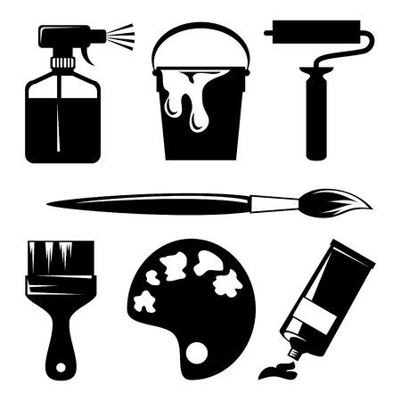 set of silhouette icons of paint and painting tools Vector