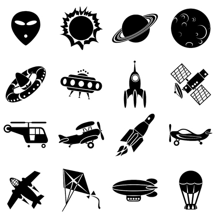 rockets: set of icons. Air transport, flying machines and space
