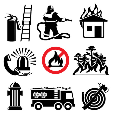 fire extinguisher sign: set of icons stencil. Fire safety and means of salvation.