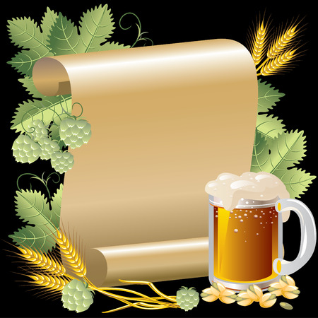 condensation on glass: Image beer in the background of the roll of gold paper and hop Illustration