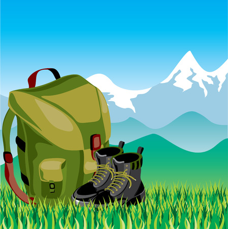 Travel backpack and shoes in the background of mountain landscape Stock Vector - 7378696