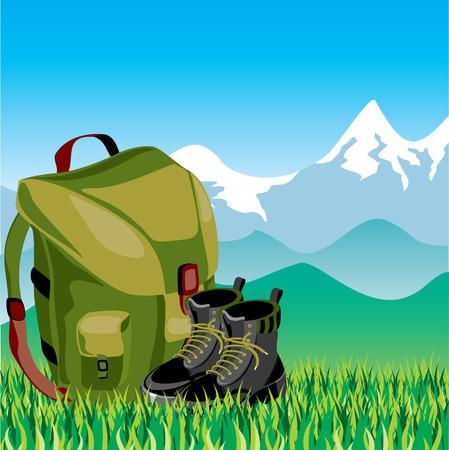 mochila de viaje: Viajes de mochila y zapatos en el fondo del paisaje de monta�a