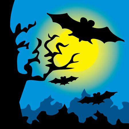 moon  owl  silhouette: Bats fly at night to hunt the woods Illustration
