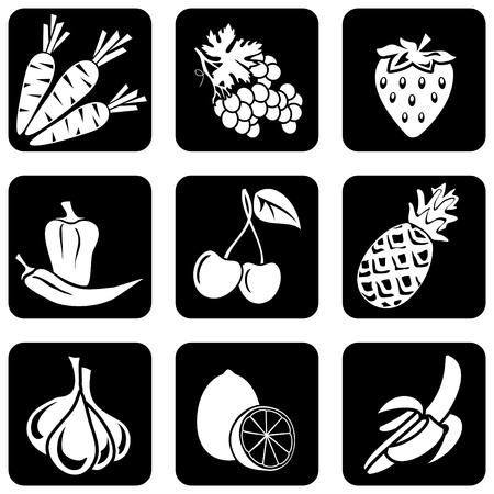 fruits vegetables: set of silhouettes of icons on the fruit and vegetables theme