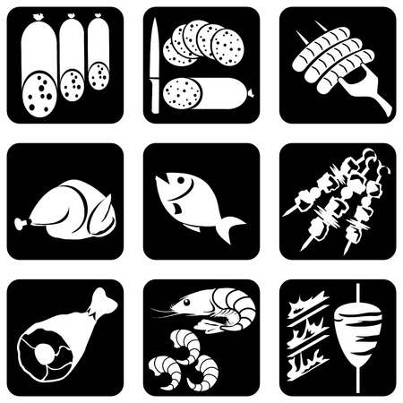 carne cruda: conjunto de iconos de blancos y negro sobre los alimentos y las bebidas  Vectores