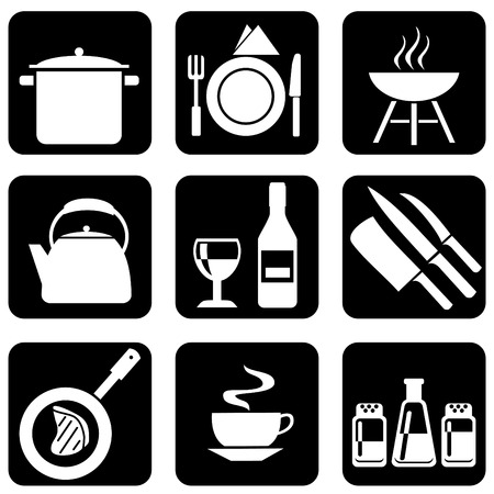 pans: set of silhouettes of icons on the food theme Illustration