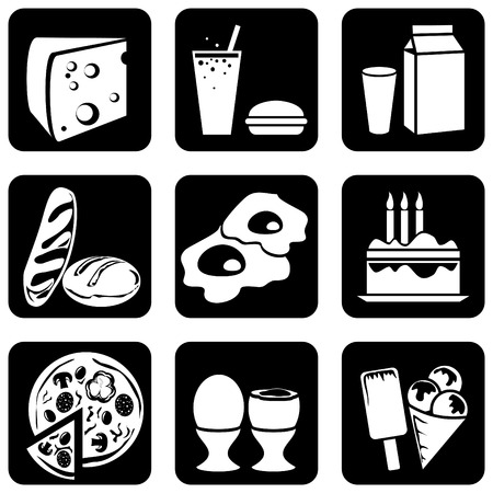 set of silhouettes of icons on the food theme Stock Vector - 7441758