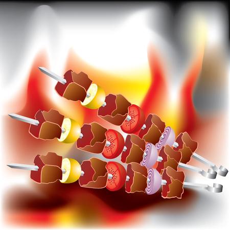 Imagen vectorial sobre el tema de la barbacoa