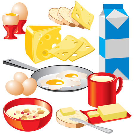 set of images of dairy products for your design